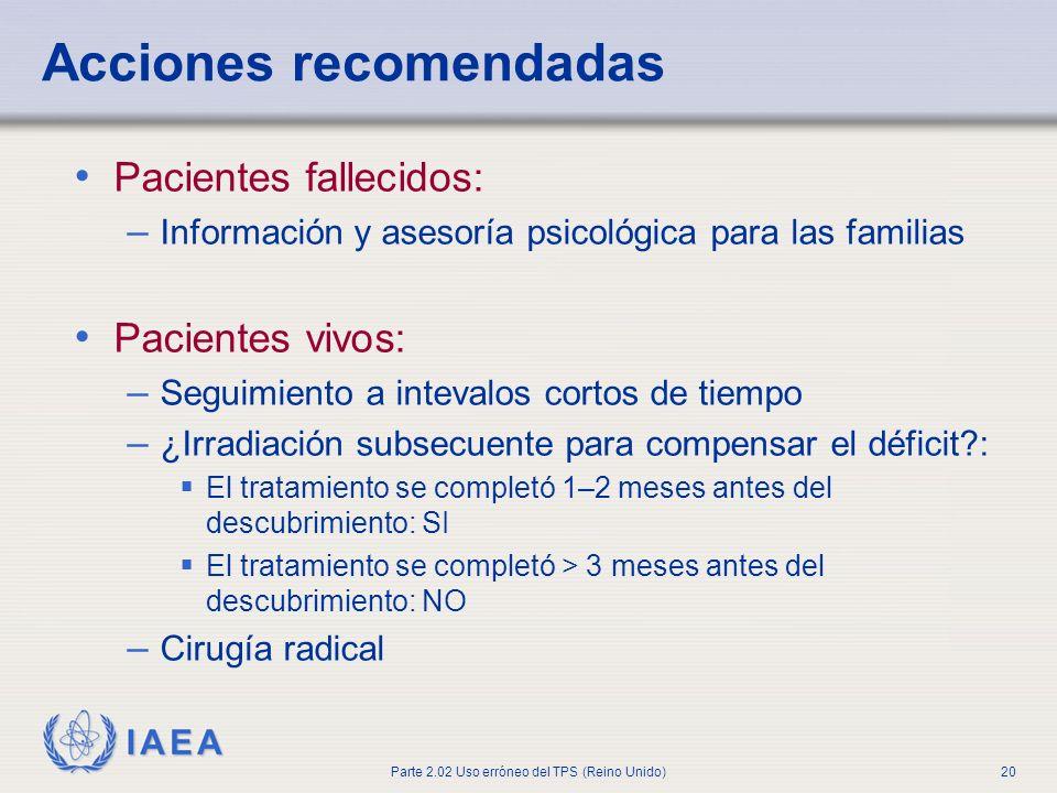 IAEA Parte 2.02 Uso erróneo del TPS (Reino Unido)20 Acciones recomendadas Pacientes fallecidos: – Información y asesoría psicológica para las familias