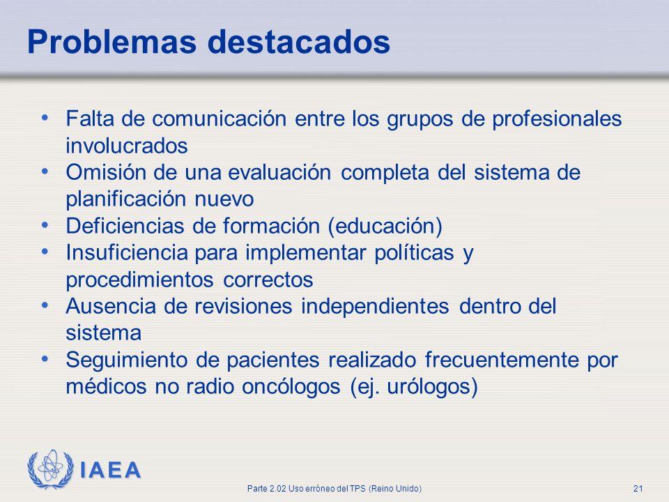 IAEA Parte 2.02 Uso erróneo del TPS (Reino Unido)21 Problemas destacados Falta de comunicación entre los grupos de profesionales involucrados Omisión