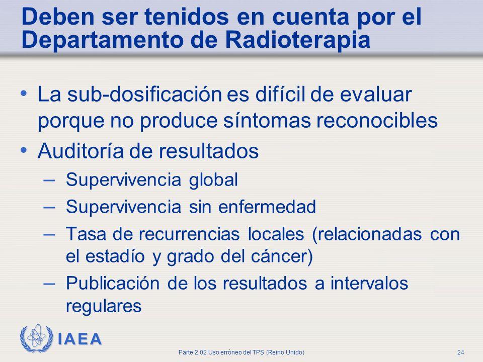 IAEA Parte 2.02 Uso erróneo del TPS (Reino Unido)24 Deben ser tenidos en cuenta por el Departamento de Radioterapia La sub-dosificación es difícil de