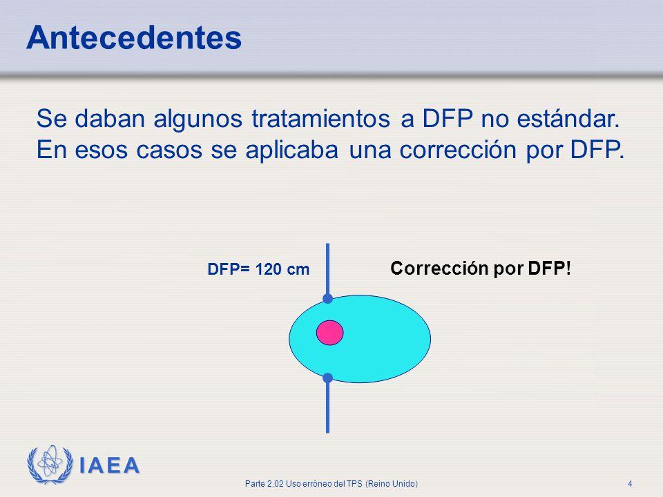 IAEA Parte 2.02 Uso erróneo del TPS (Reino Unido)4 Antecedentes Se daban algunos tratamientos a DFP no estándar. En esos casos se aplicaba una correcc