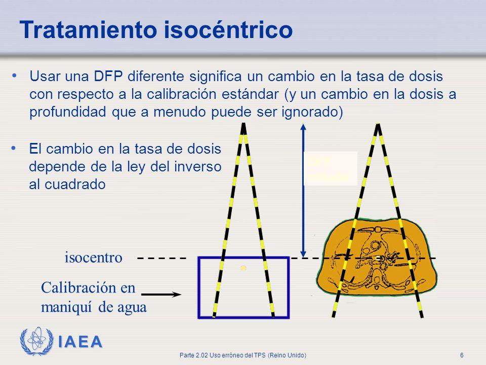 IAEA Parte 2.02 Uso erróneo del TPS (Reino Unido)6 Tratamiento isocéntrico Usar una DFP diferente significa un cambio en la tasa de dosis con respecto