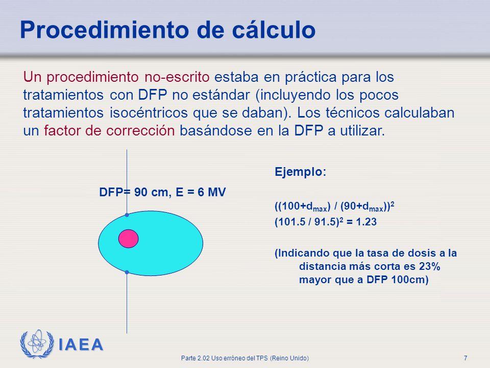 IAEA Parte 2.02 Uso erróneo del TPS (Reino Unido)7 DFP= 90 cm, E = 6 MV Ejemplo: ((100+d max ) / (90+d max )) 2 (101.5 / 91.5) 2 = 1.23 (Indicando que