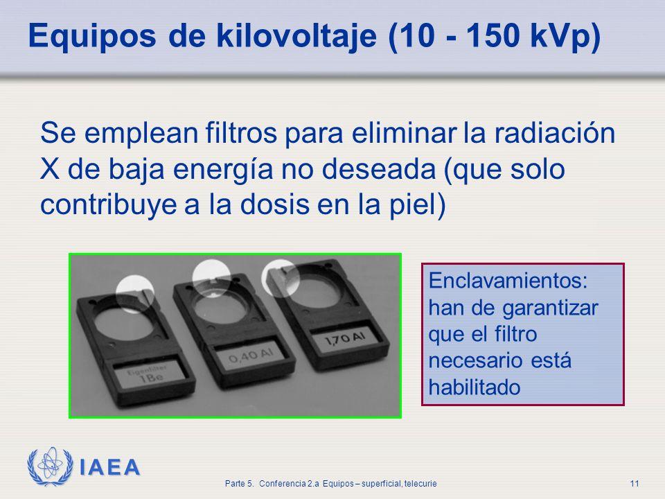 IAEA Parte 5. Conferencia 2.a Equipos – superficial, telecurie11 Equipos de kilovoltaje (10 - 150 kVp) Se emplean filtros para eliminar la radiación X