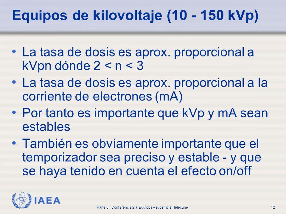 IAEA Parte 5. Conferencia 2.a Equipos – superficial, telecurie12 Equipos de kilovoltaje (10 - 150 kVp) La tasa de dosis es aprox. proporcional a kVpn