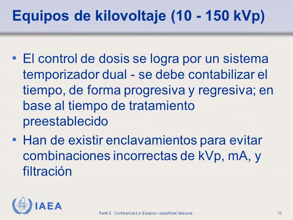 IAEA Parte 5. Conferencia 2.a Equipos – superficial, telecurie13 Equipos de kilovoltaje (10 - 150 kVp) El control de dosis se logra por un sistema tem