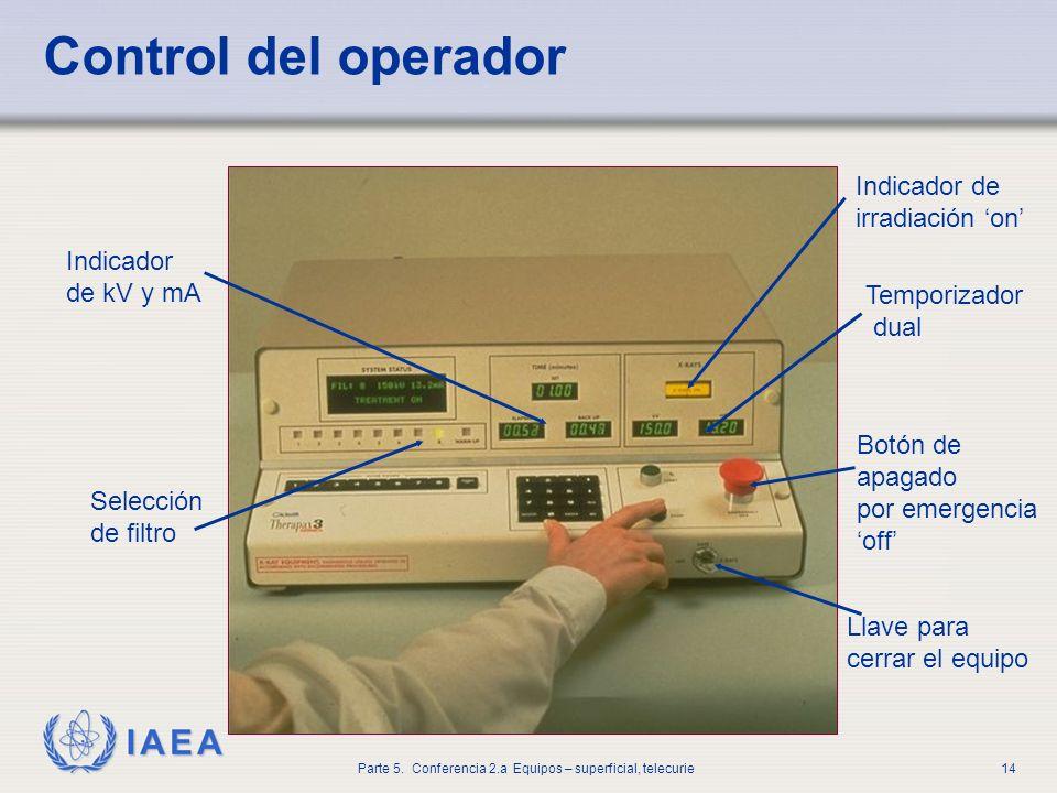 IAEA Parte 5. Conferencia 2.a Equipos – superficial, telecurie14 Control del operador Indicador de kV y mA Selección de filtro Indicador de irradiació