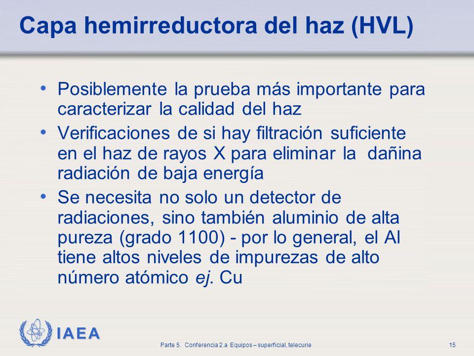 IAEA Parte 5. Conferencia 2.a Equipos – superficial, telecurie15 Capa hemirreductora del haz (HVL) Posiblemente la prueba más importante para caracter