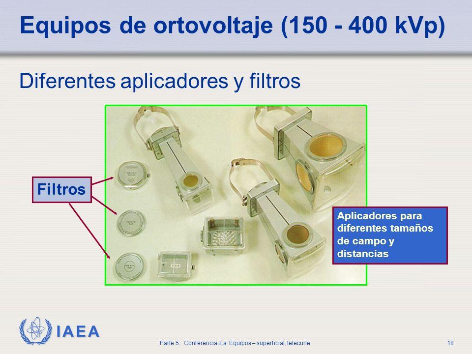 IAEA Parte 5. Conferencia 2.a Equipos – superficial, telecurie18 Equipos de ortovoltaje (150 - 400 kVp) Diferentes aplicadores y filtros Filtros Aplic