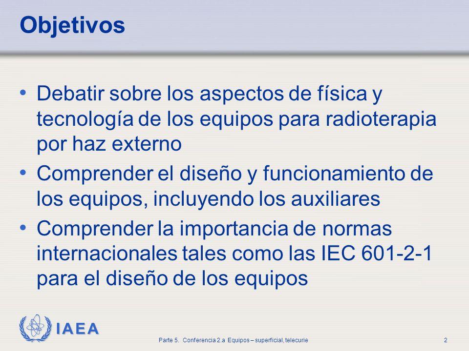 IAEA Parte 5. Conferencia 2.a Equipos – superficial, telecurie2 Objetivos Debatir sobre los aspectos de física y tecnología de los equipos para radiot