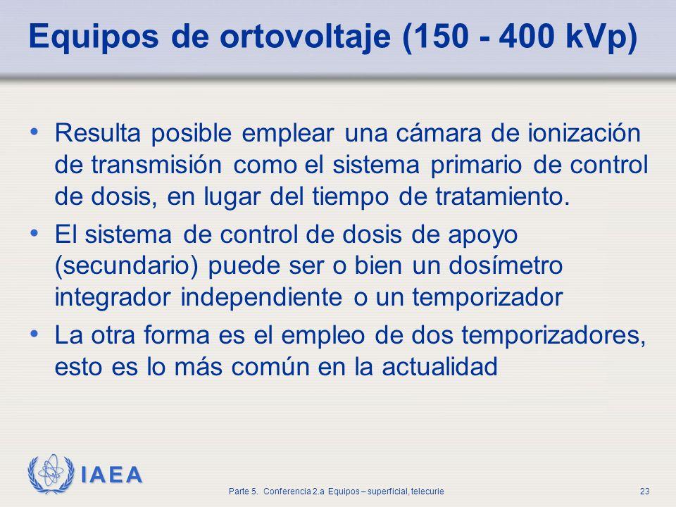 IAEA Parte 5. Conferencia 2.a Equipos – superficial, telecurie23 Equipos de ortovoltaje (150 - 400 kVp) Resulta posible emplear una cámara de ionizaci
