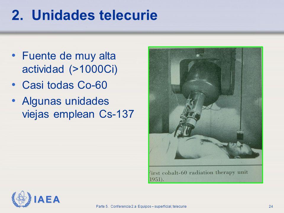 IAEA Parte 5. Conferencia 2.a Equipos – superficial, telecurie24 2. Unidades telecurie Fuente de muy alta actividad (>1000Ci) Casi todas Co-60 Algunas