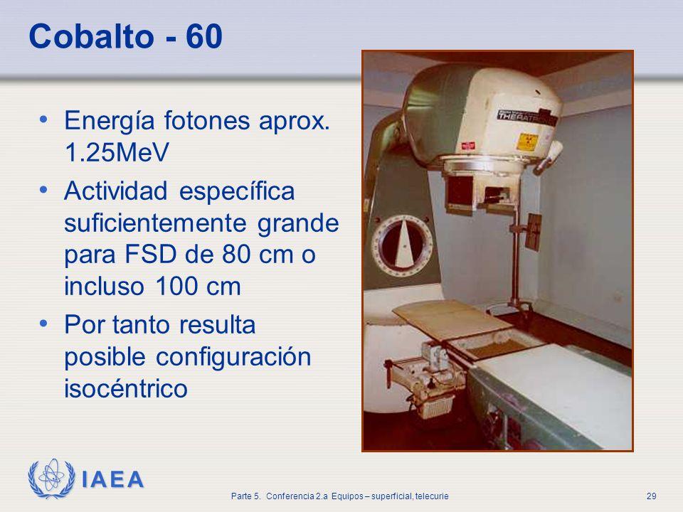 IAEA Parte 5. Conferencia 2.a Equipos – superficial, telecurie29 Cobalto - 60 Energía fotones aprox. 1.25MeV Actividad específica suficientemente gran