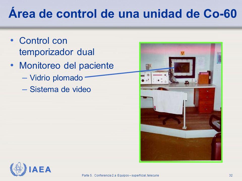 IAEA Parte 5. Conferencia 2.a Equipos – superficial, telecurie32 Área de control de una unidad de Co-60 Control con temporizador dual Monitoreo del pa