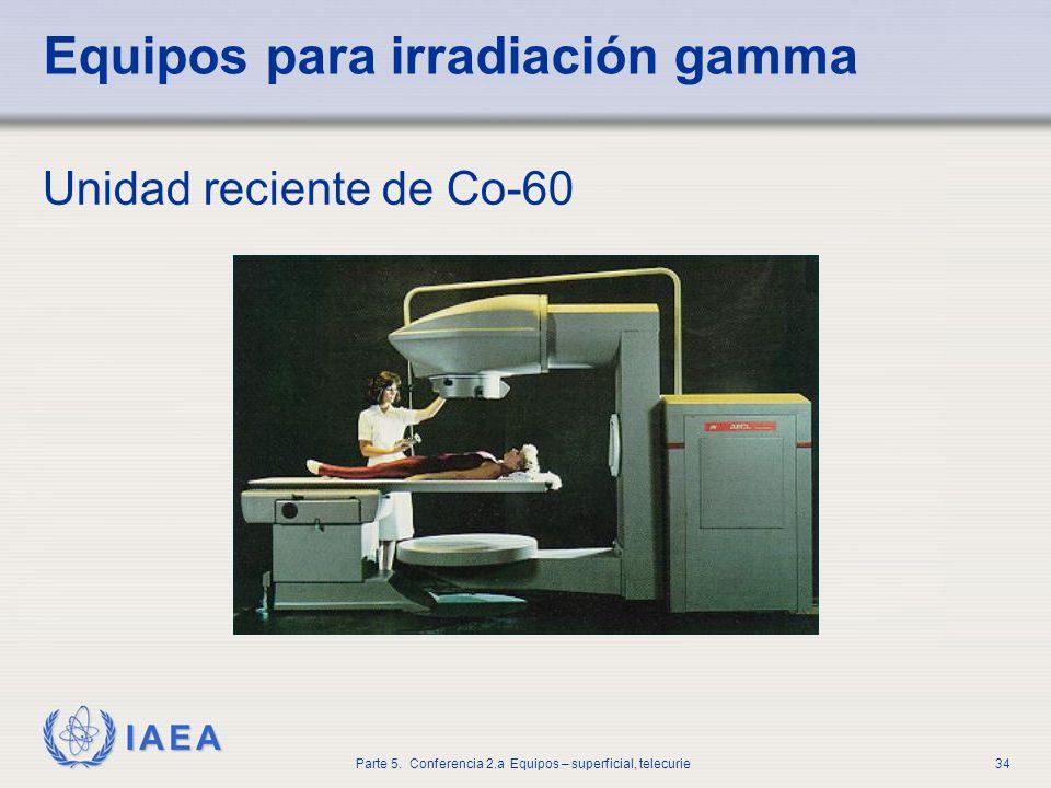 IAEA Parte 5. Conferencia 2.a Equipos – superficial, telecurie34 Equipos para irradiación gamma Unidad reciente de Co-60