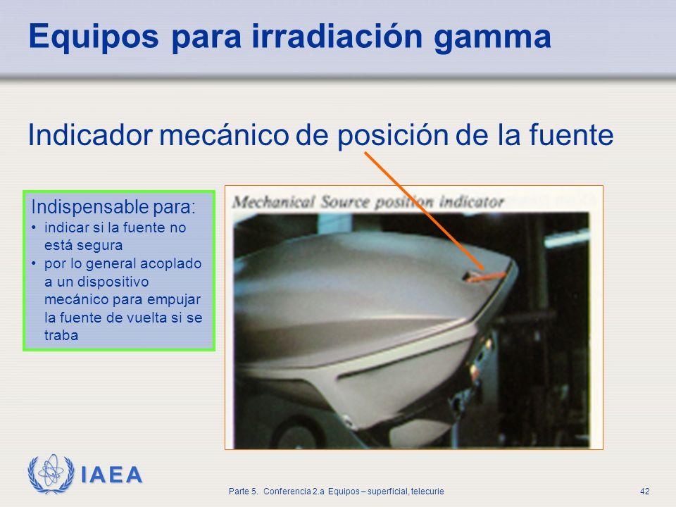 IAEA Parte 5. Conferencia 2.a Equipos – superficial, telecurie42 Equipos para irradiación gamma Indicador mecánico de posición de la fuente Indispensa