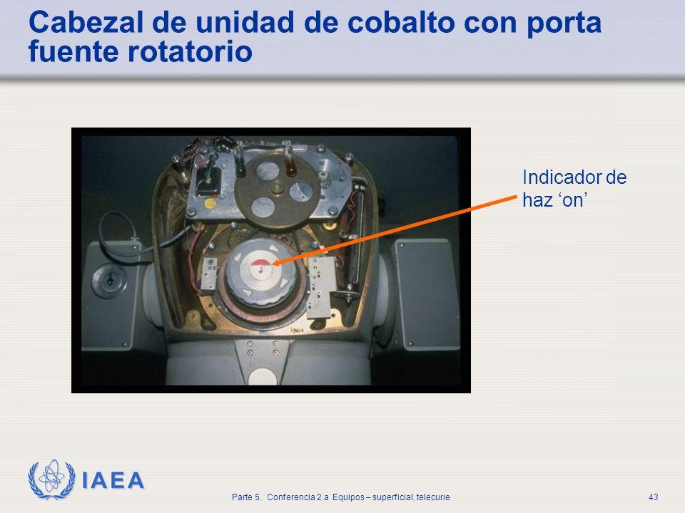 IAEA Parte 5. Conferencia 2.a Equipos – superficial, telecurie43 Cabezal de unidad de cobalto con porta fuente rotatorio Indicador de haz on
