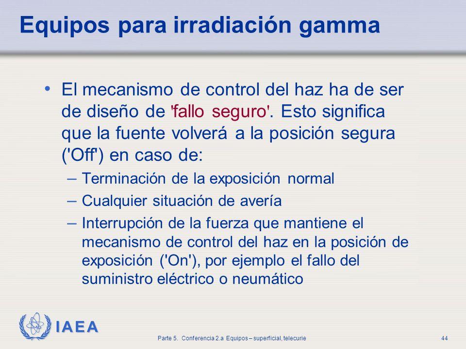 IAEA Parte 5. Conferencia 2.a Equipos – superficial, telecurie44 Equipos para irradiación gamma El mecanismo de control del haz ha de ser de diseño de