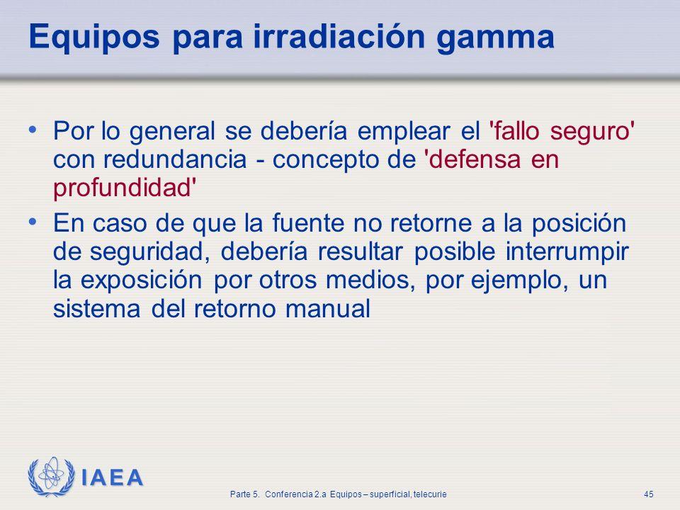 IAEA Parte 5. Conferencia 2.a Equipos – superficial, telecurie45 Equipos para irradiación gamma Por lo general se debería emplear el 'fallo seguro' co