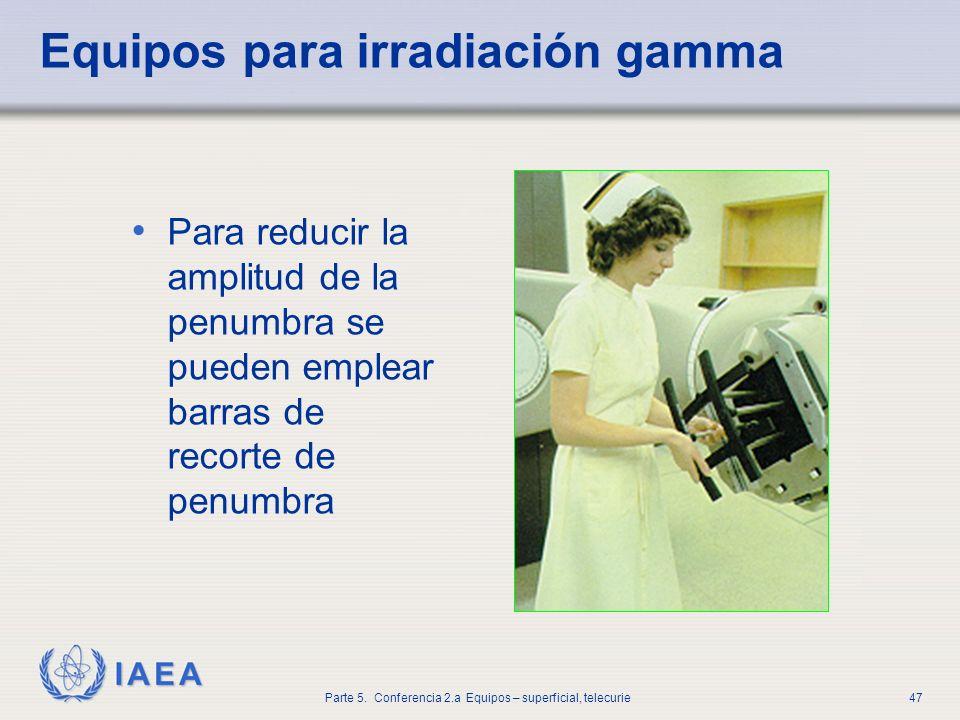 IAEA Parte 5. Conferencia 2.a Equipos – superficial, telecurie47 Equipos para irradiación gamma Para reducir la amplitud de la penumbra se pueden empl
