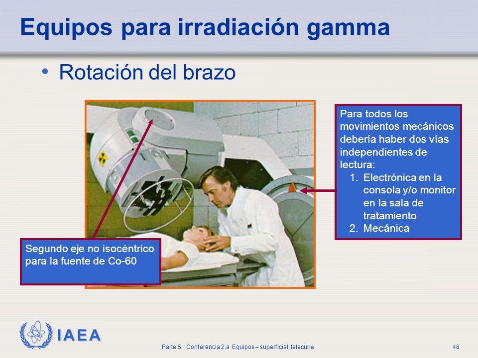 IAEA Parte 5. Conferencia 2.a Equipos – superficial, telecurie48 Equipos para irradiación gamma Rotación del brazo Para todos los movimientos mecánico