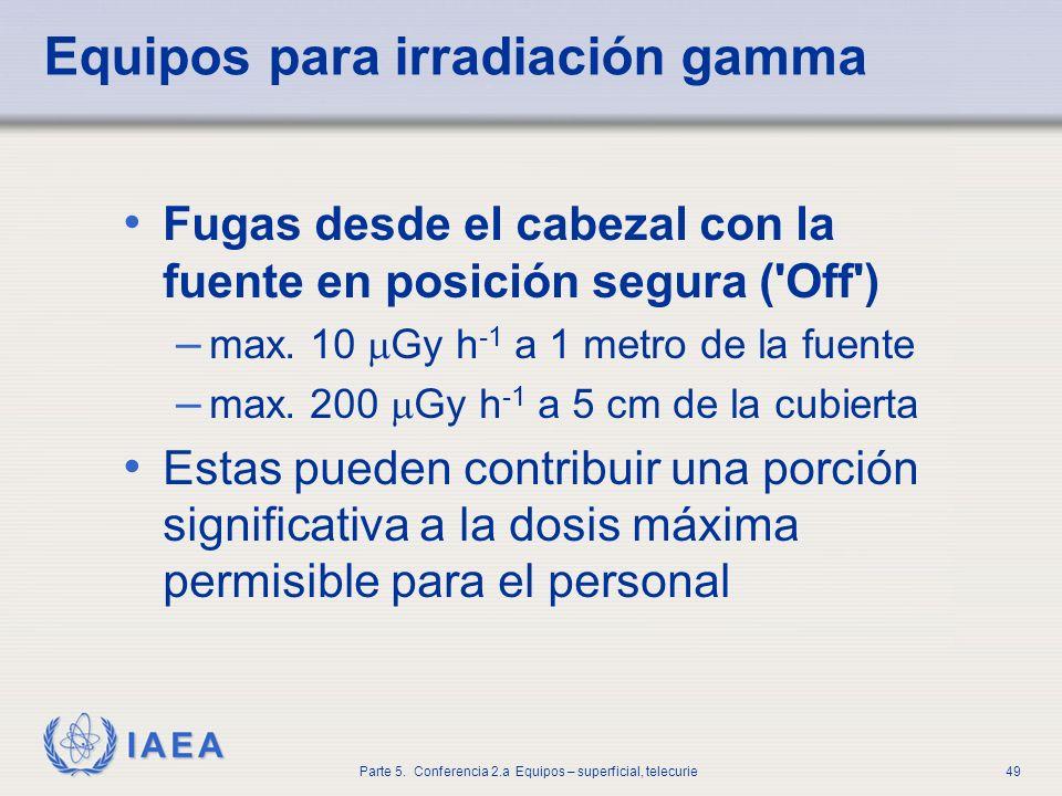 IAEA Parte 5. Conferencia 2.a Equipos – superficial, telecurie49 Equipos para irradiación gamma Fugas desde el cabezal con la fuente en posición segur