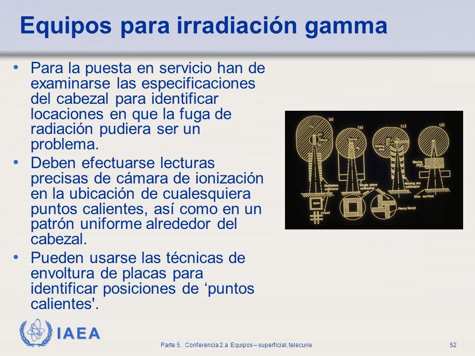 IAEA Parte 5. Conferencia 2.a Equipos – superficial, telecurie52 Equipos para irradiación gamma Para la puesta en servicio han de examinarse las espec