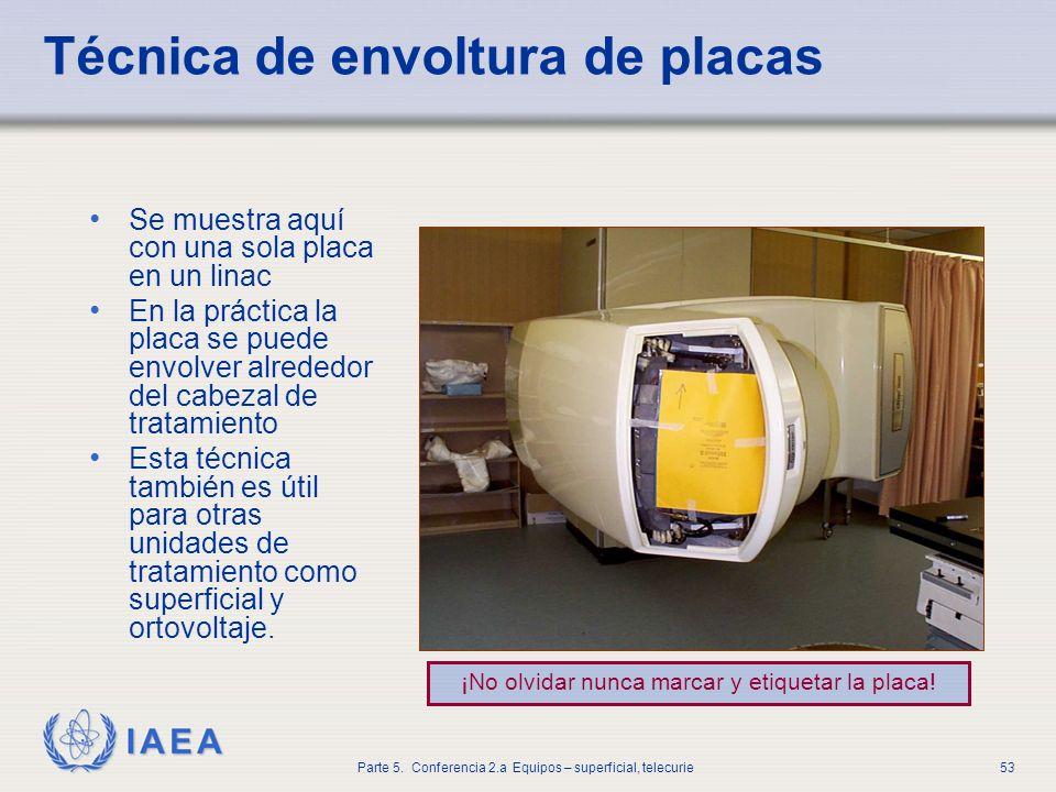 IAEA Parte 5. Conferencia 2.a Equipos – superficial, telecurie53 Técnica de envoltura de placas Se muestra aquí con una sola placa en un linac En la p