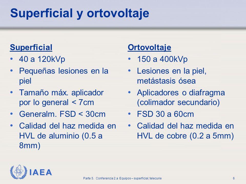 IAEA Parte 5. Conferencia 2.a Equipos – superficial, telecurie6 Superficial y ortovoltaje Superficial 40 a 120kVp Pequeñas lesiones en la piel Tamaño