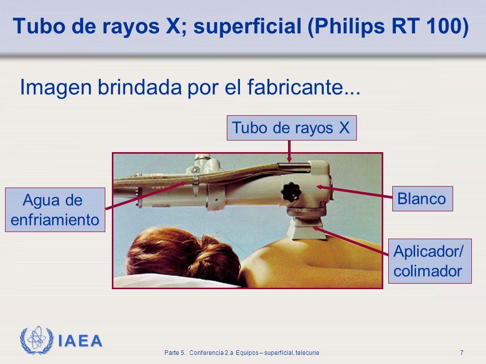 IAEA Parte 5. Conferencia 2.a Equipos – superficial, telecurie7 Tubo de rayos X; superficial (Philips RT 100) Imagen brindada por el fabricante... Tub