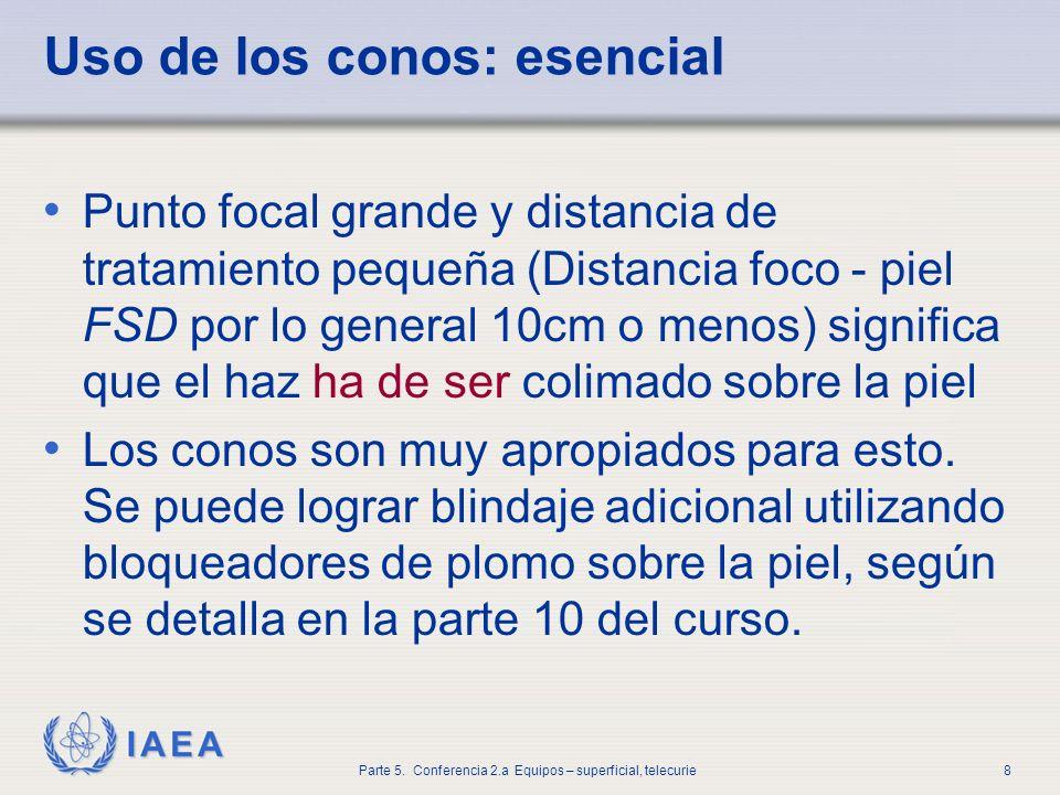 IAEA Parte 5. Conferencia 2.a Equipos – superficial, telecurie8 Uso de los conos: esencial Punto focal grande y distancia de tratamiento pequeña (Dist