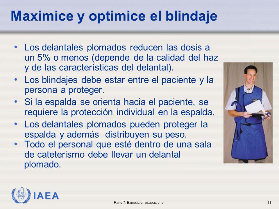 IAEA Maximice y optimice el blindaje Los delantales plomados reducen las dosis a un 5% o menos (depende de la calidad del haz y de las características del delantal).