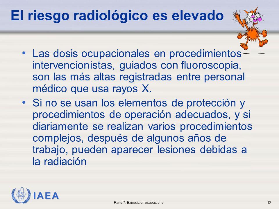 IAEA El riesgo radiológico es elevado Las dosis ocupacionales en procedimientos intervencionistas, guiados con fluoroscopia, son las más altas registradas entre personal médico que usa rayos X.