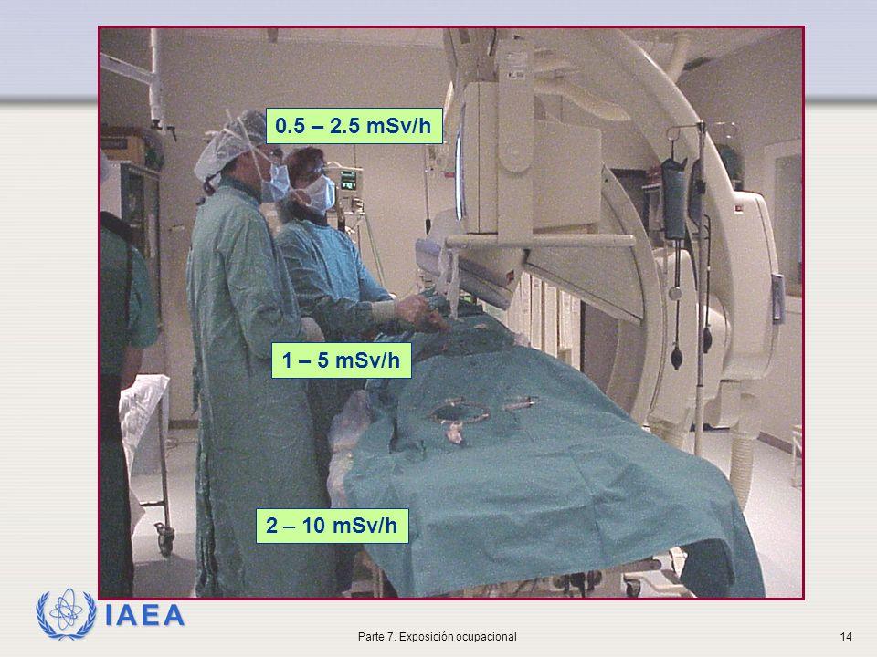 IAEA 1 – 5 mSv/h 0.5 – 2.5 mSv/h 2 – 10 mSv/h Parte 7. Exposición ocupacional14