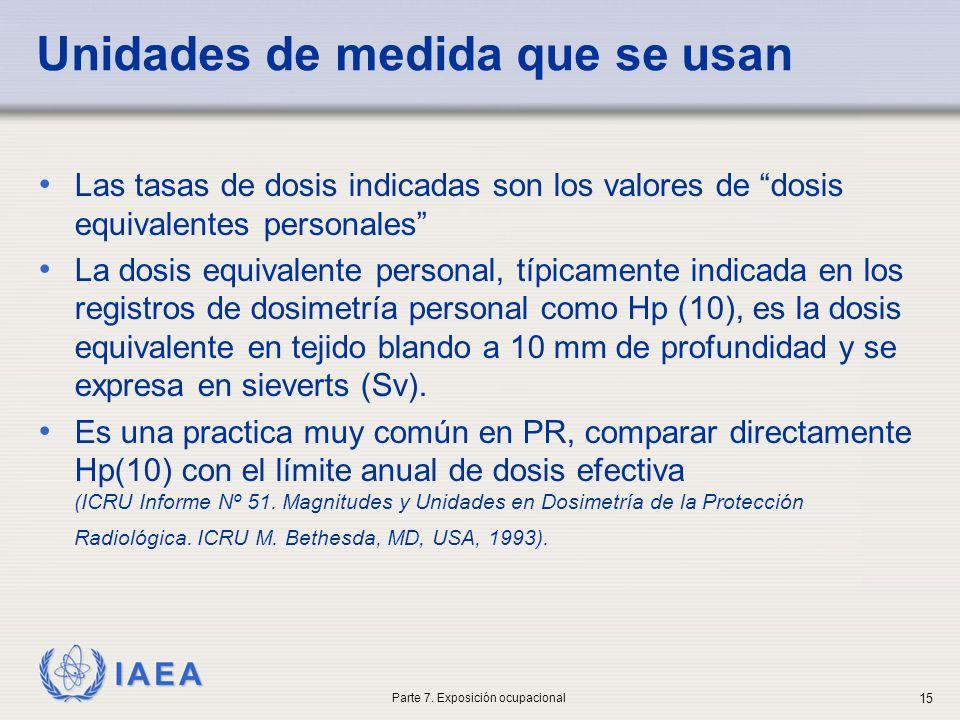 IAEA Unidades de medida que se usan Las tasas de dosis indicadas son los valores de dosis equivalentes personales La dosis equivalente personal, típicamente indicada en los registros de dosimetría personal como Hp (10), es la dosis equivalente en tejido blando a 10 mm de profundidad y se expresa en sieverts (Sv).