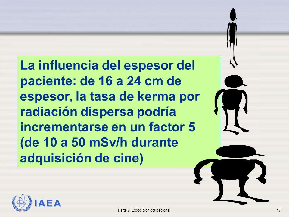IAEA La influencia del espesor del paciente: de 16 a 24 cm de espesor, la tasa de kerma por radiación dispersa podría incrementarse en un factor 5 (de 10 a 50 mSv/h durante adquisición de cine) Parte 7.