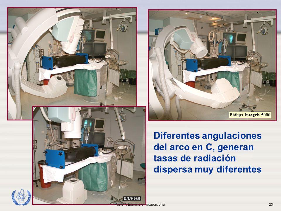 IAEA Diferentes angulaciones del arco en C, generan tasas de radiación dispersa muy diferentes Philips Integris 5000 Parte 7.