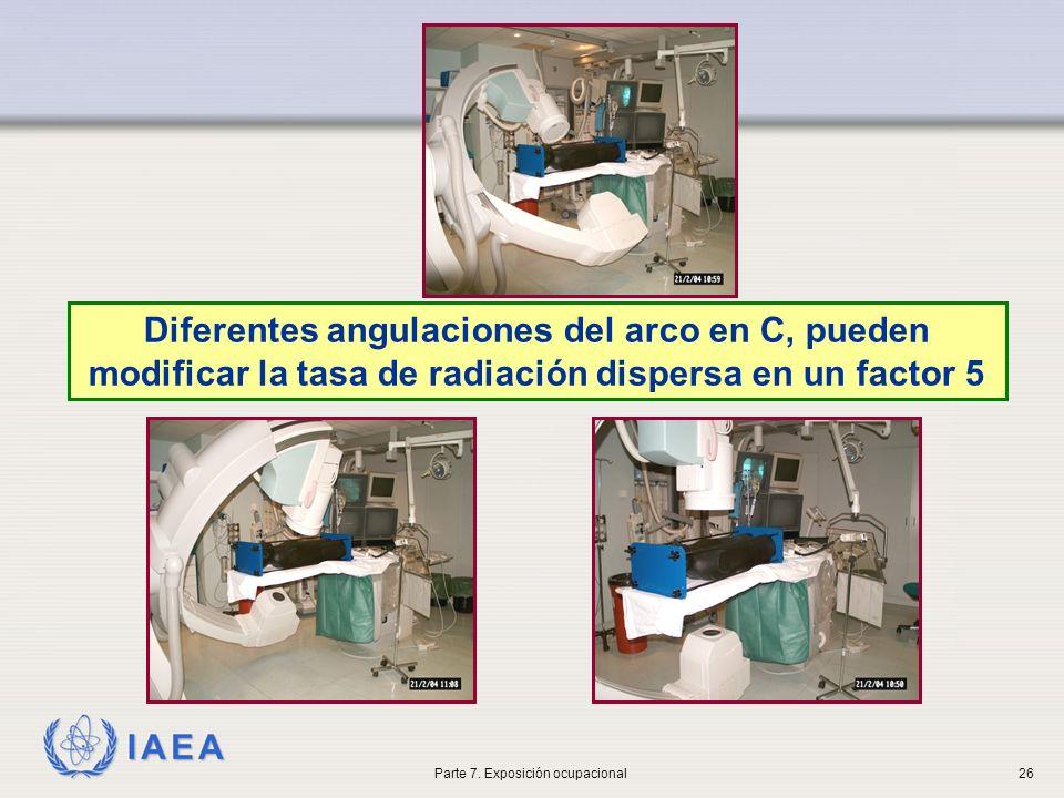 IAEA Diferentes angulaciones del arco en C, pueden modificar la tasa de radiación dispersa en un factor 5 Parte 7. Exposición ocupacional26