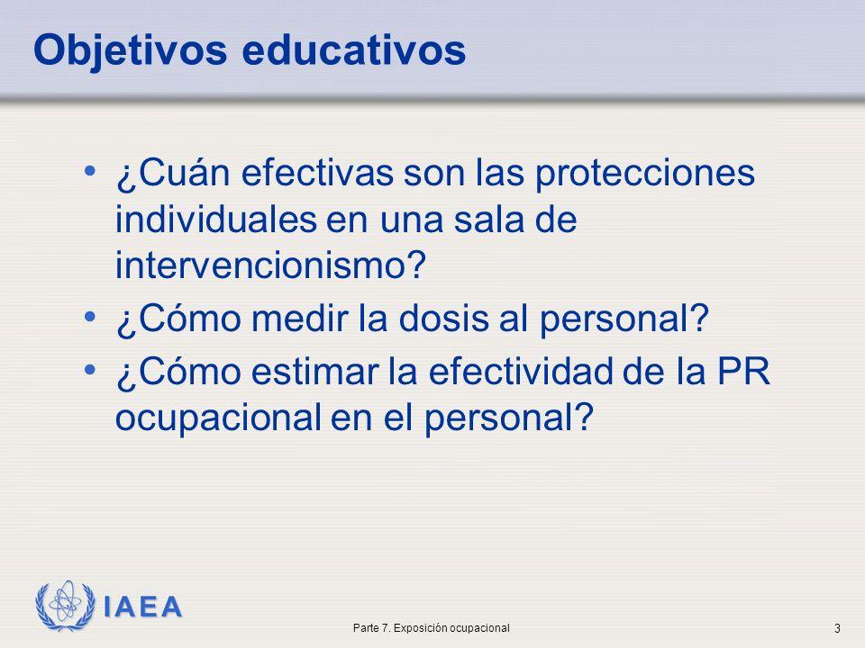 IAEA Objetivos educativos ¿Cuán efectivas son las protecciones individuales en una sala de intervencionismo? ¿Cómo medir la dosis al personal? ¿Cómo e