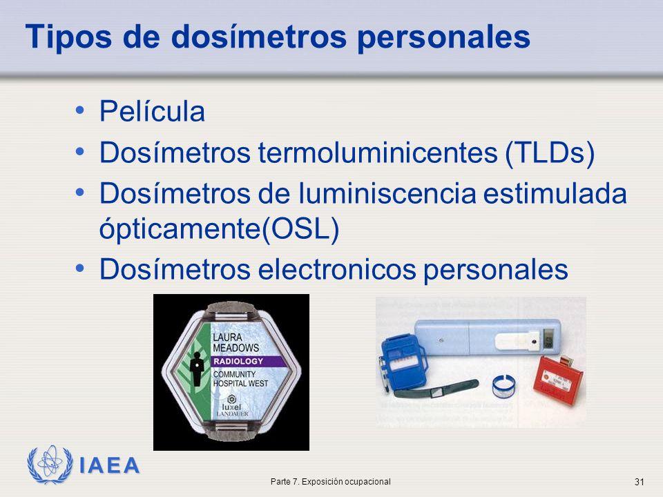 IAEA Tipos de dos í metros personales Película Dosímetros termoluminicentes (TLDs) Dosímetros de luminiscencia estimulada ópticamente(OSL) Dosímetros
