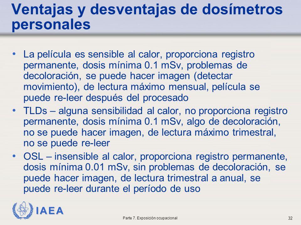 IAEA Ventajas y desventajas de dosímetros personales La película es sensible al calor, proporciona registro permanente, dosis mínima 0.1 mSv, problemas de decoloración, se puede hacer imagen (detectar movimiento), de lectura máximo mensual, película se puede re-leer después del procesado TLDs – alguna sensibilidad al calor, no proporciona registro permanente, dosis mínima 0.1 mSv, algo de decoloración, no se puede hacer imagen, de lectura máximo trimestral, no se puede re-leer OSL – insensible al calor, proporciona registro permanente, dosis mínima 0.01 mSv, sin problemas de decoloración, se puede hacer imagen, de lectura trimestral a anual, se puede re-leer durante el período de uso Parte 7.