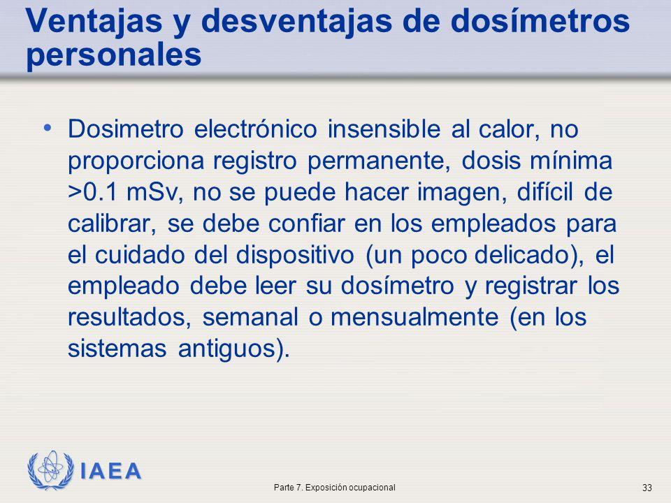 IAEA Ventajas y desventajas de dosímetros personales Dosimetro electrónico insensible al calor, no proporciona registro permanente, dosis mínima >0.1