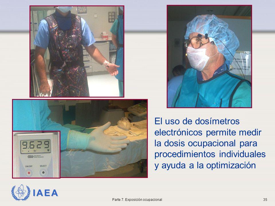 IAEA El uso de dosímetros electrónicos permite medir la dosis ocupacional para procedimientos individuales y ayuda a la optimización Parte 7. Exposici