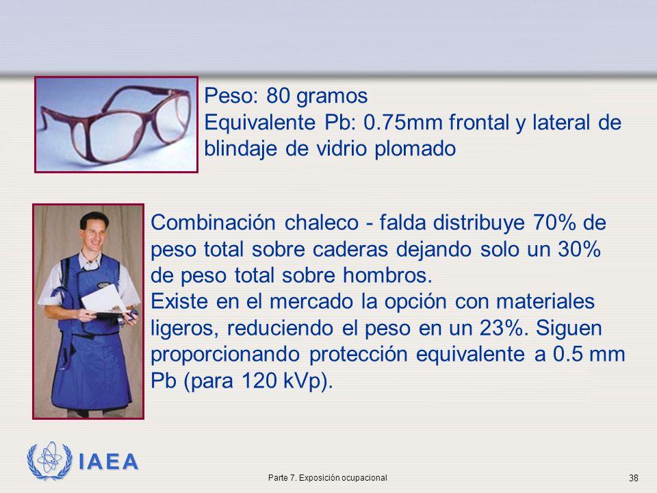 IAEA Peso: 80 gramos Equivalente Pb: 0.75mm frontal y lateral de blindaje de vidrio plomado Combinación chaleco - falda distribuye 70% de peso total sobre caderas dejando solo un 30% de peso total sobre hombros.