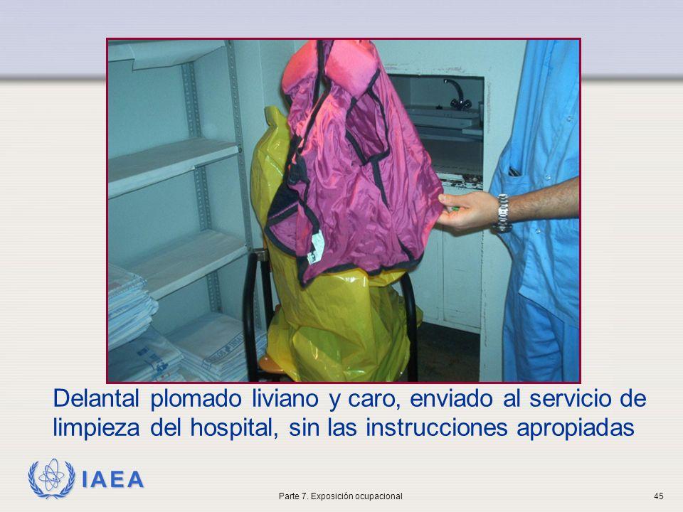 IAEA Delantal plomado liviano y caro, enviado al servicio de limpieza del hospital, sin las instrucciones apropiadas Parte 7. Exposición ocupacional45