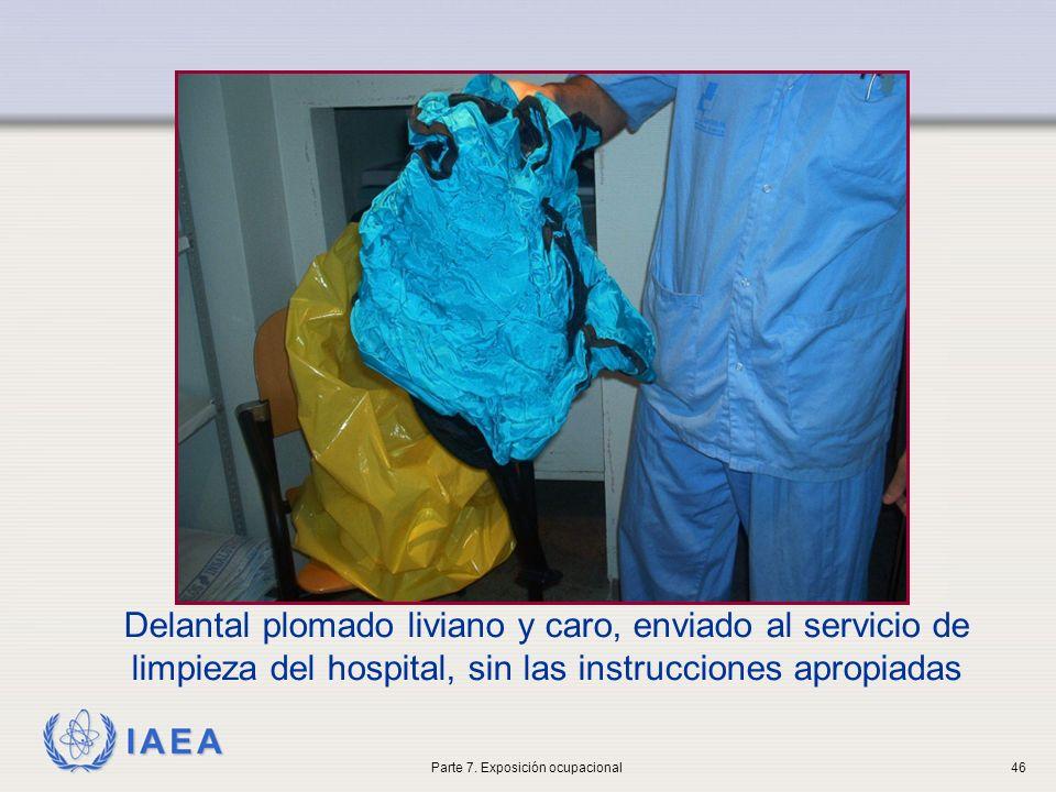 IAEA Delantal plomado liviano y caro, enviado al servicio de limpieza del hospital, sin las instrucciones apropiadas Parte 7. Exposición ocupacional46