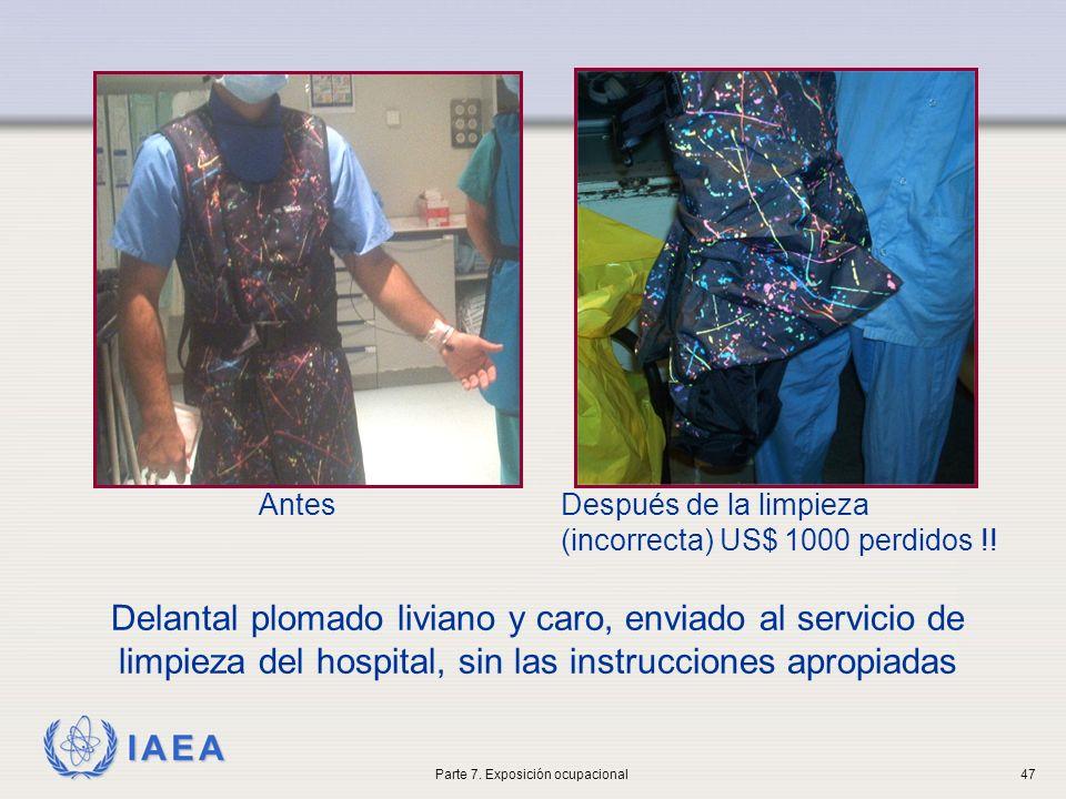 IAEA Delantal plomado liviano y caro, enviado al servicio de limpieza del hospital, sin las instrucciones apropiadas AntesDespués de la limpieza (inco