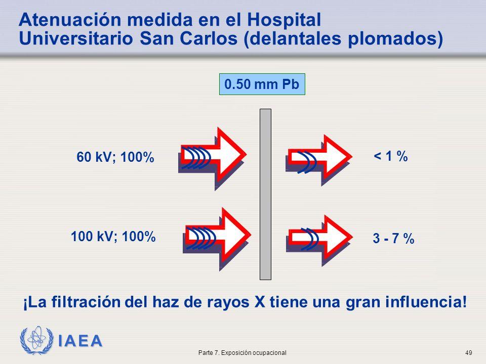 IAEA 0.50 mm Pb 60 kV; 100% < 1 % 100 kV; 100% 3 - 7 % Atenuación medida en el Hospital Universitario San Carlos (delantales plomados) ¡La filtración