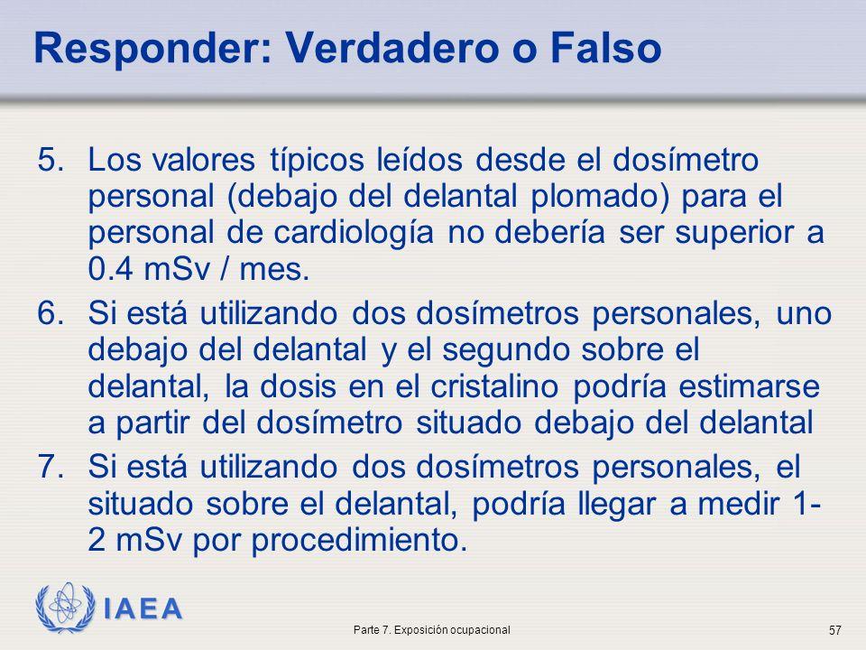 IAEA 5.Los valores típicos leídos desde el dosímetro personal (debajo del delantal plomado) para el personal de cardiología no debería ser superior a