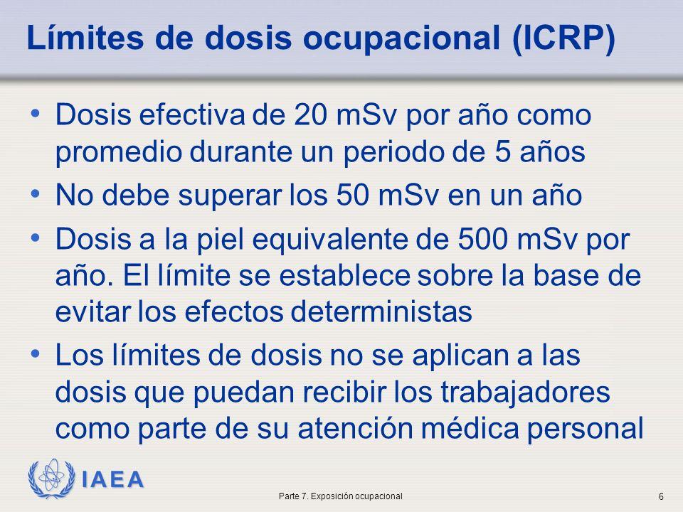IAEA Límites de dosis ocupacional (ICRP) Dosis efectiva de 20 mSv por año como promedio durante un periodo de 5 años No debe superar los 50 mSv en un