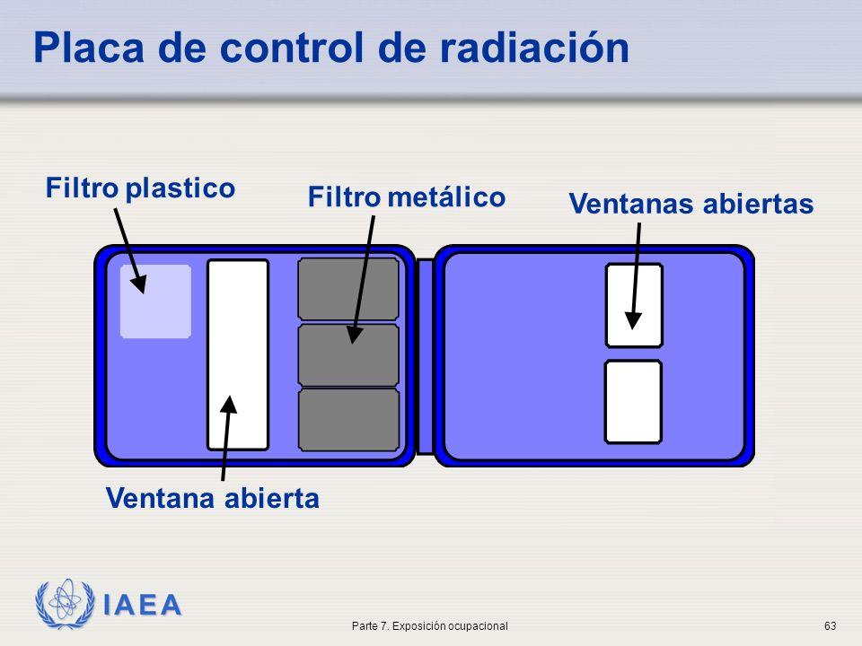 IAEA Placa de control de radiación Filtro plastico Filtro metálico Ventanas abiertas Ventana abierta Parte 7. Exposición ocupacional63